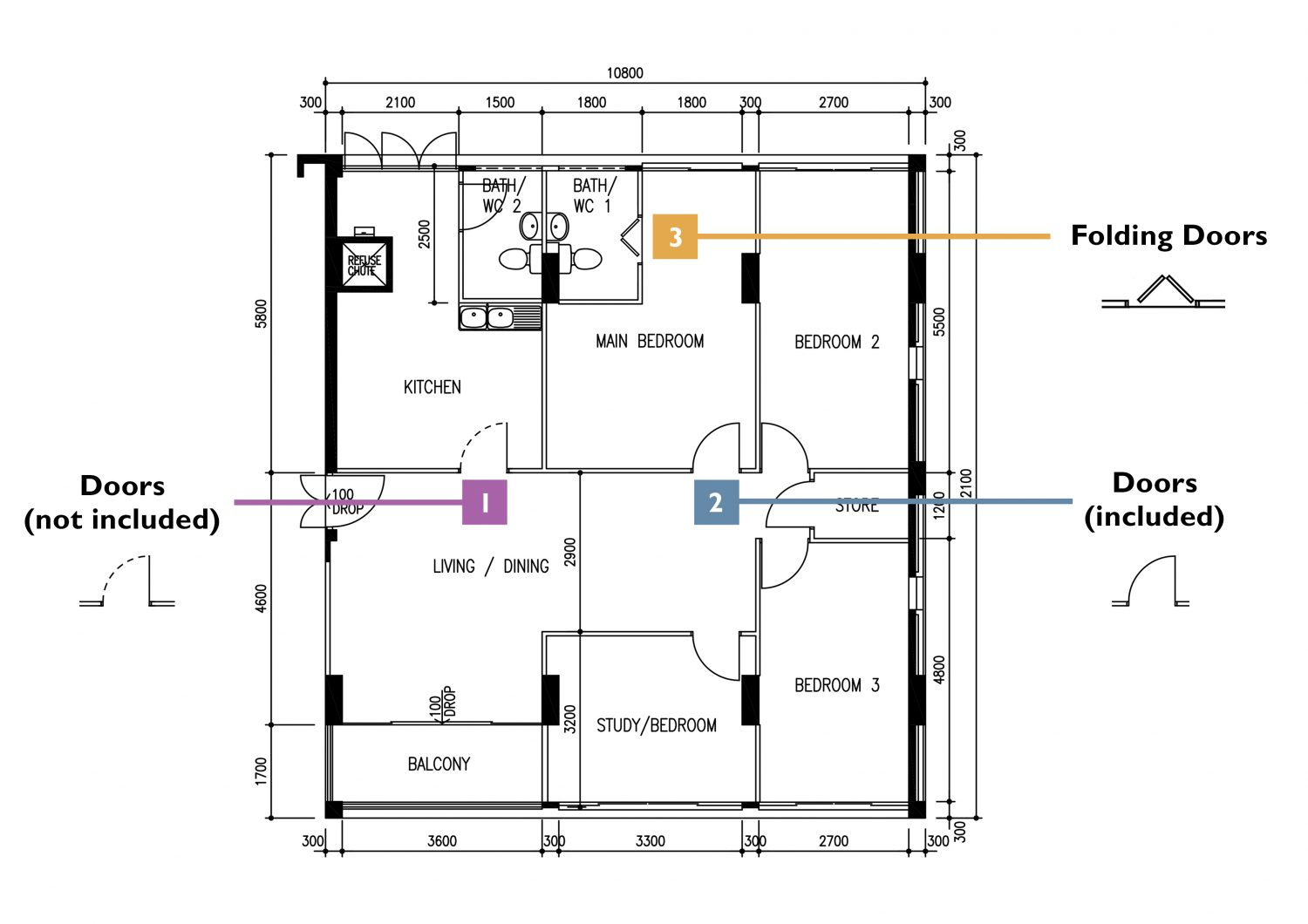 how to read HDB floor plans (doors)