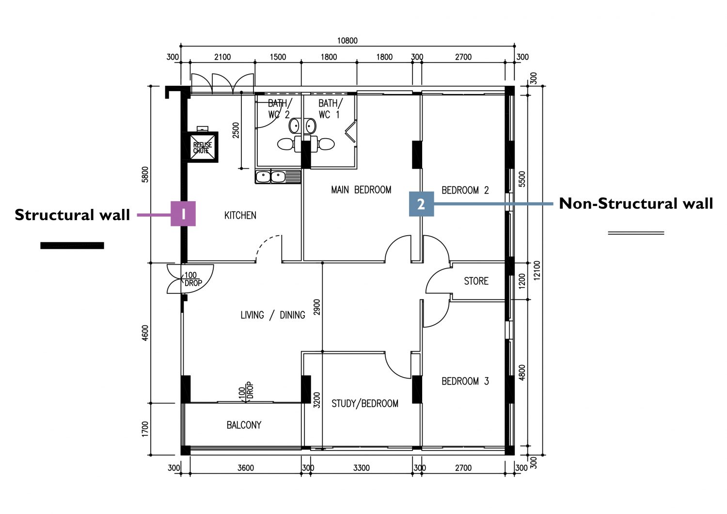 how to read HDB floor plans (walls)