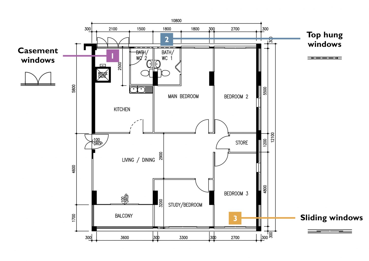 how to read HDB floor plans (windows)